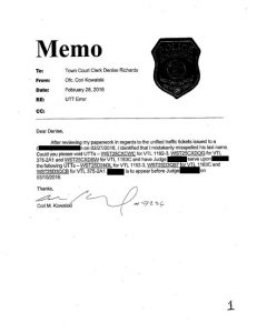 Memo Proving Original Simplified Traffic Informations ere filed and superseded one day later