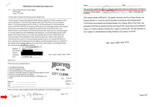 City of Olean Response to FOIL. Violates their own procedure - Click to enlarge