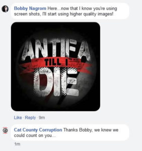 Booby admitting he loves Antifa - Click to enlarge