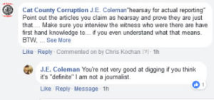 Our response to Coleman's claim of hearsay testimony versus first hand knowledge. Click to enlarge