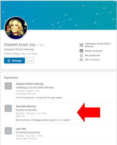 DEnsell's Linkedin Profile Showing she also worked for the City of Olean Attorney. Click to Enlarge.